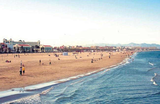 Las Arenas strand in Valencia stad