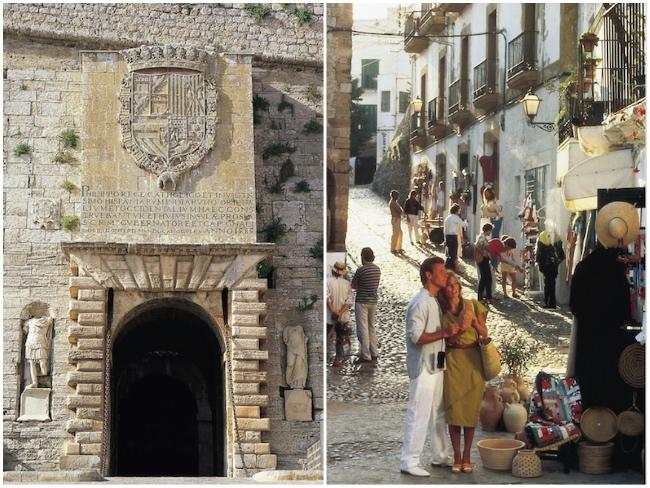 Toegangspoort Portal de ses Taules en straatje in Dalt Vila (Ibiza stad)