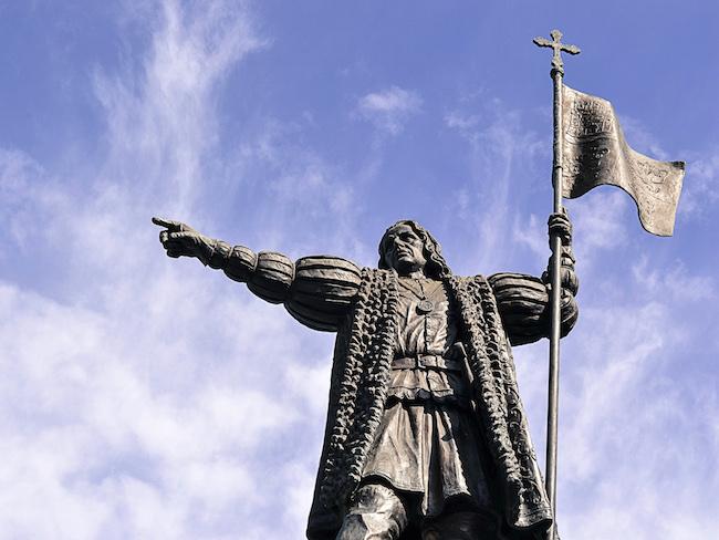 Het beeld van Columbus op de Plaza de las Monjas in Huelva