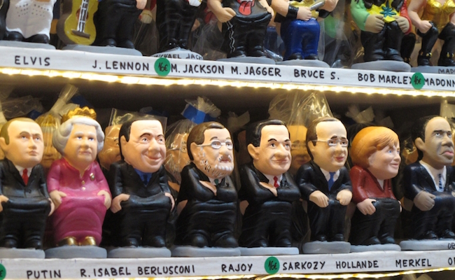 Caganer figuren van bekende politici (kersttraditie in Catalonië)