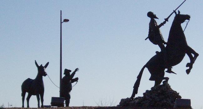 De verstrooide ridder DonQuijote op avontuur met zijn makker Sancho Panza