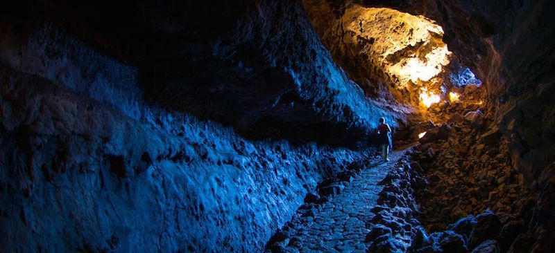 Cueva de los Verdes op Spaanse eiland Lanzarote, deel van de grootste lava tunnel ter wereld