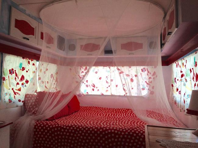 Interieur gepimpte caravan Finca Fahala