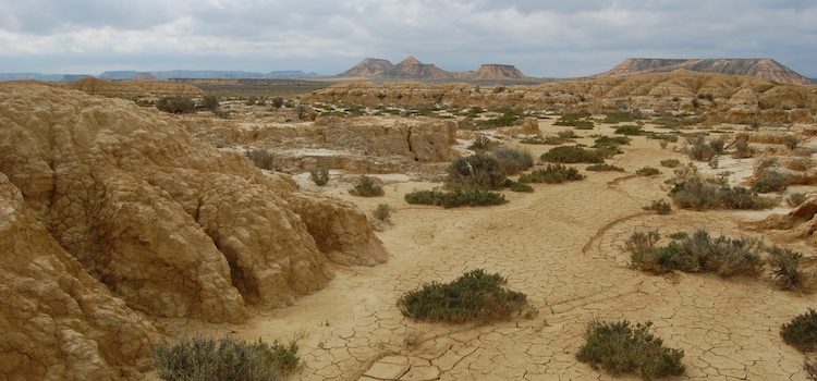 Halfwoestijn Bardenas Reales in Navarra (Noordoost Spanje)