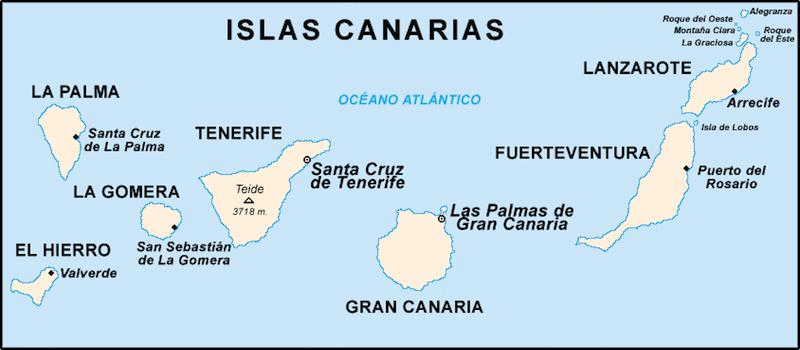 kaart van Canarische eilanden