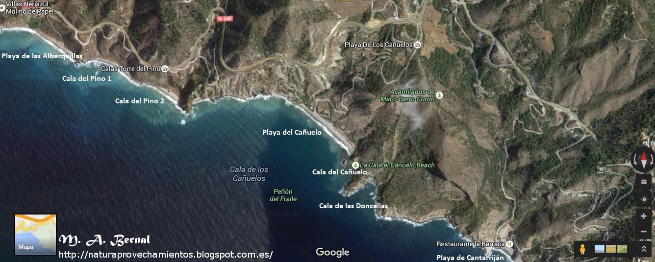 kaart van Los acantilados de Maro-Cerro Gordo (Zuid-Spanje)