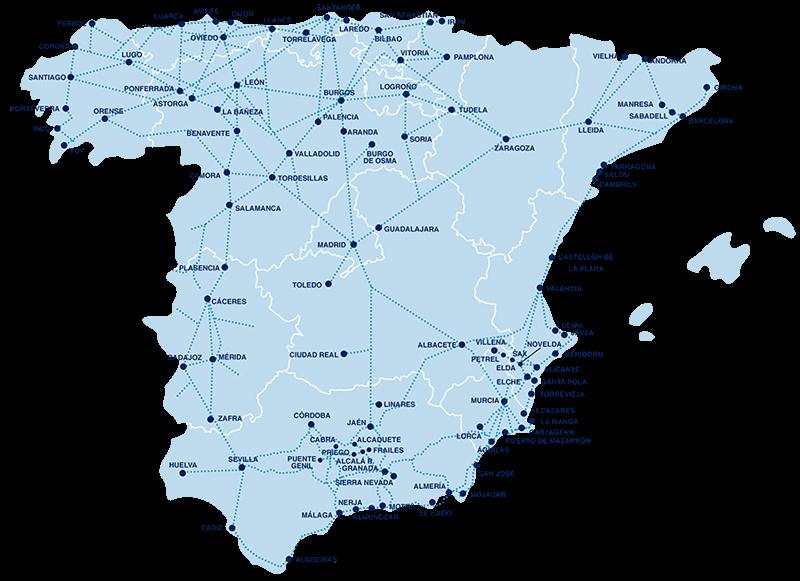 Busroutes van Alsa door Spanje