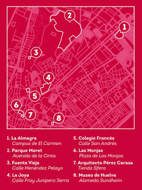 Kaart van Huelva Milenaria - met archeologische resten in Huelva