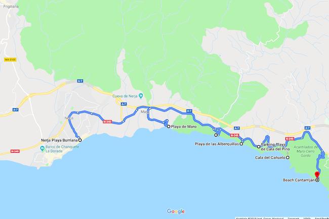 Kaart van in baai gelegen stranden aan de Costa del Sol