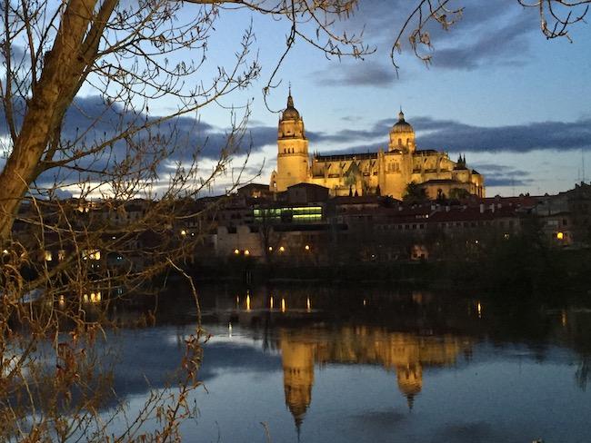 Uitzicht op kathedralen en Casa Lis vanaf de Termes rivier in Salamanca
