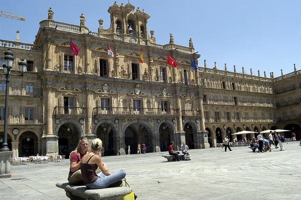 De Plaza Mayor in Salamanca (Midden Spanje) - dé ontmoetingsplek in Salamanca
