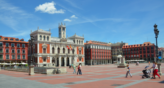 De Plaza Mayor in Valladolid (Midden Spanje)