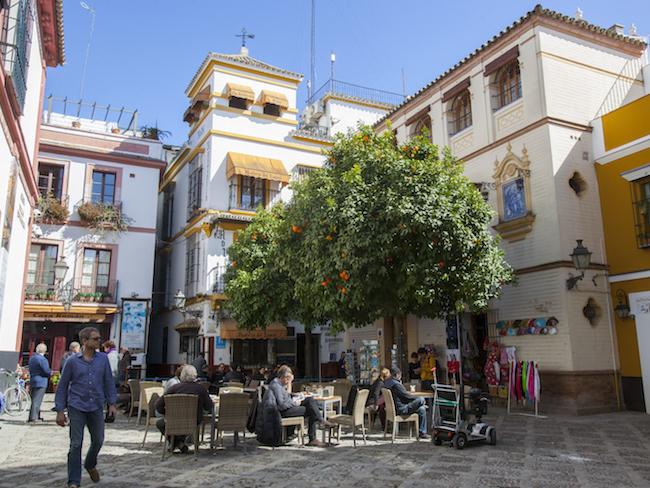 Santa Cruz wijk in Sevilla (Andalusië, Spanje)