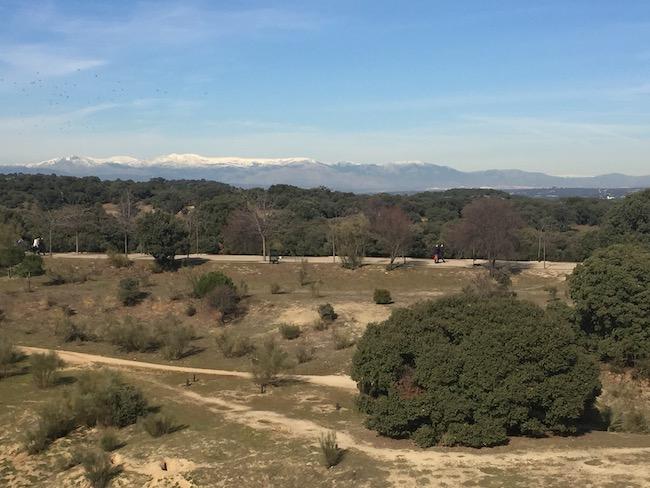 Met sneeuw bedekte bergtoppen ten noorden van Madrid