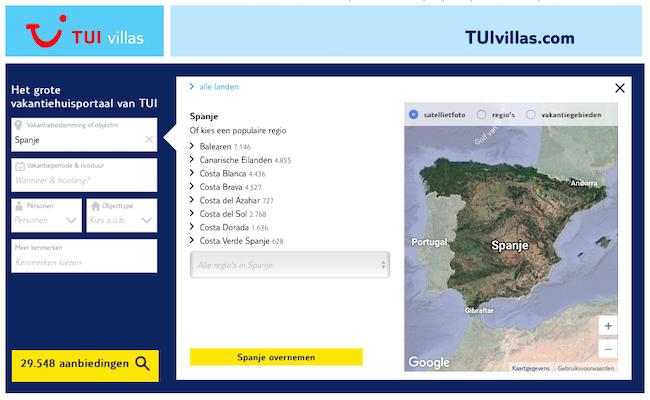 Vakantiehuizen in Spanje op TUI Villas per regio