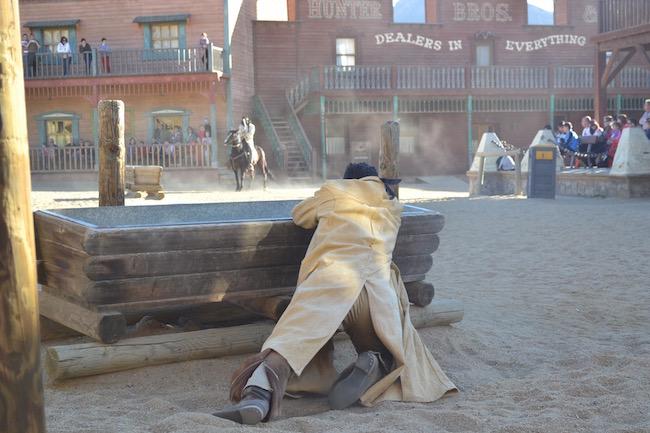 Westernshow in Oasys Minihollywood in de woestijn van Tabernas (Almería, Andalusië)