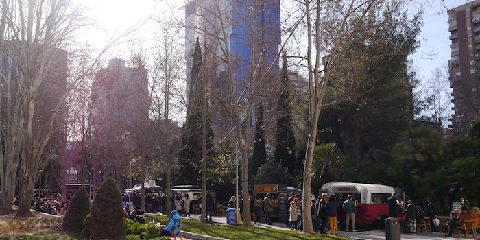 De Food Trucks van Madrid in AZCA, het commerciële centrum van Madrid