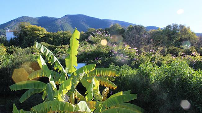 uitzicht op de Guadalhorce vallei vanaf Glamping La Nogala in het binnenland van de provincie Malaga