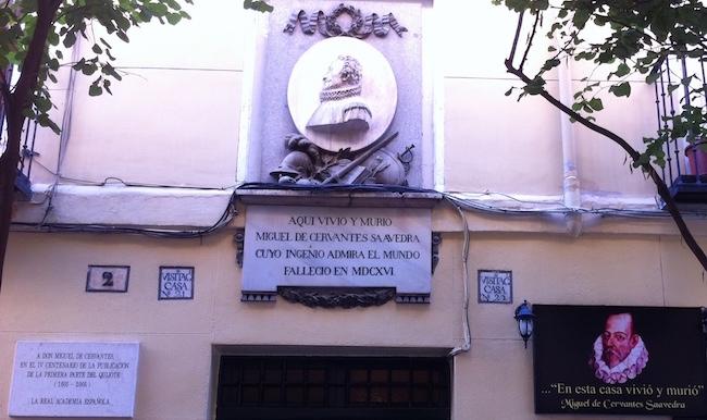 Het huis van Cervantes in Letras wijk in Madrid