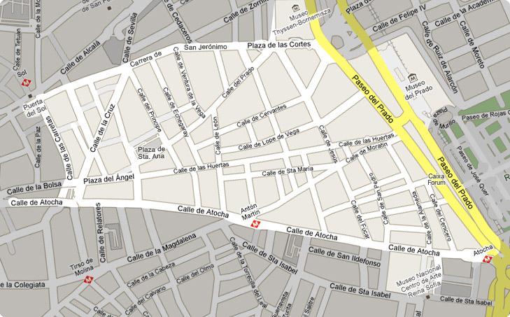 Kaart van de Las Letras wijk in het centrum van Madrid