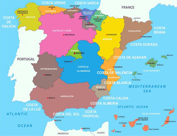 Kaart van de Costas in Spanje