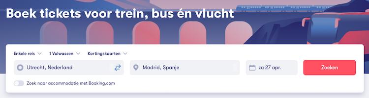 Omio's zoekmachine voor reizen per vliegtuig, bus en trein in Europa