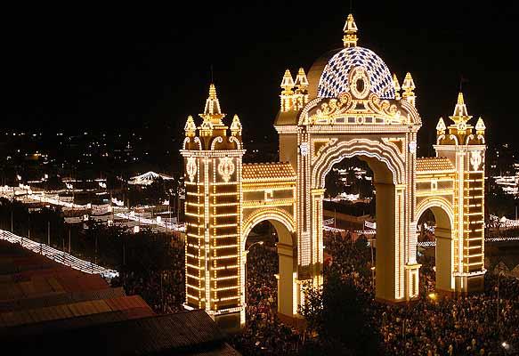 De officiële opening van de Feria de Abril in Sevilla (Zuid Spanje)