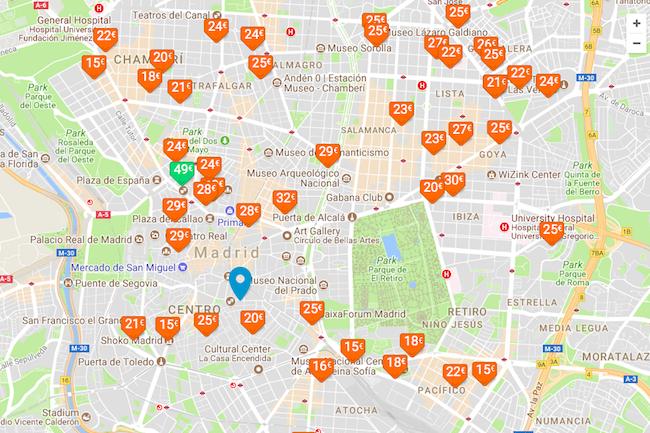 Parkeergarages in Madrid op Parkimeter