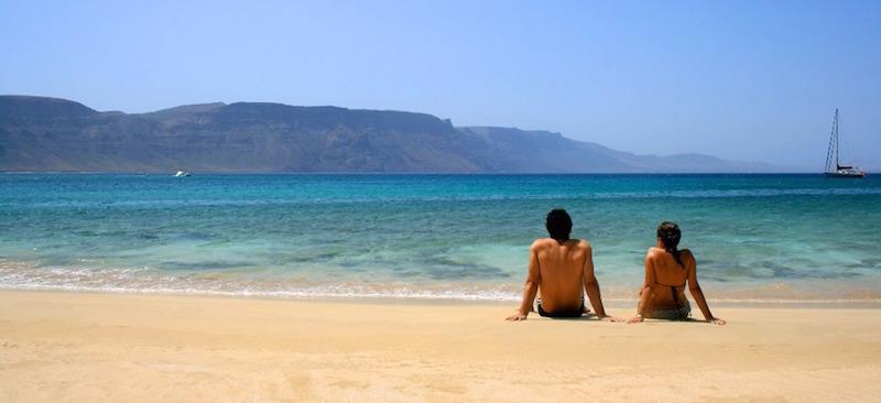 Playa de la Francesca, op het La Graciosa eiland ten noorden van Lanzarote