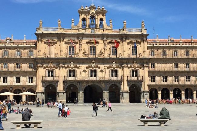 De Plaza Mayor van Salamanca (Castillië en Leon)