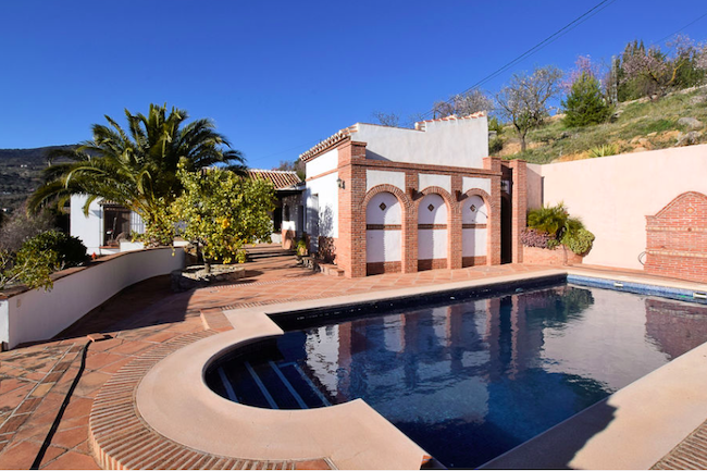 Zwembad van het landelijk vakantiehuis Sueño Andaluz in de provincie Málaga (Andalusië)